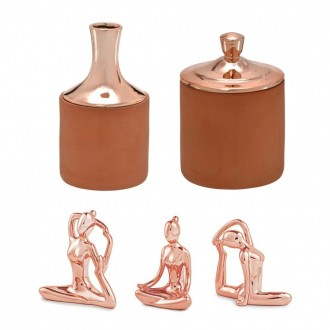 Kit Decorativo em Cerâmica Rose Gold e Terracota