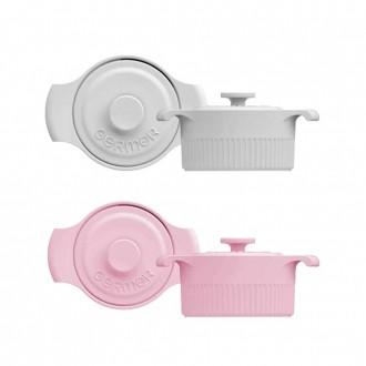 Kit Mini Panelas de Porcelana Branca/Rosa 10cm