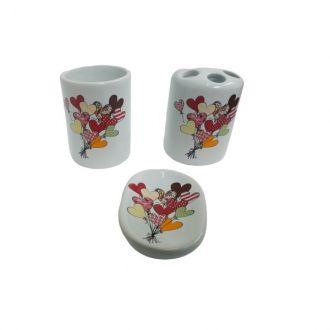 Kit Para Banheiro em Cerâmica 3 Peças - Corações