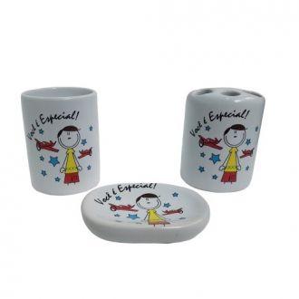 Kit Para Banheiro em Cerâmica 3 Peças - Você é Especial