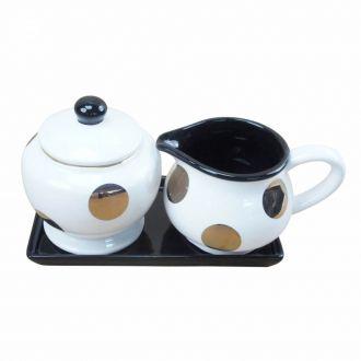 Kit para Café em Cerâmica Branco e Dourado 3 Peças
