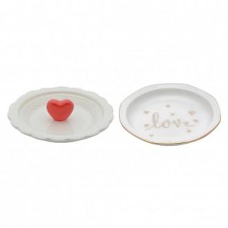 Kit Porta Anéis em Cerâmica Branco