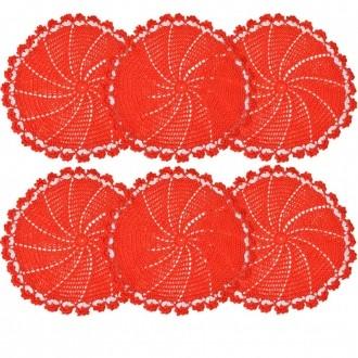 Kit Sousplat Crochê Barroco Vermelho 42cm