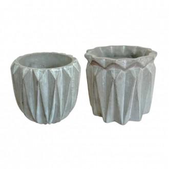 Kit Vaso Decorativo de Cimento Geométrico