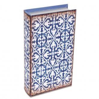Livro Caixa Decorativo Grande - Ladrilhos Azul e Branco