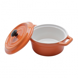 Mini Caçarola Redonda Porcelana Black Lid Laranja 150ml