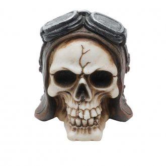 Mini Caveira Decorativa de Resina Aviator Helmet Marrom 8,5cm