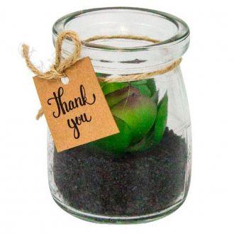 Mini Vaso Decorativo De Vidro Com Suculenta Artificial - Mahogany