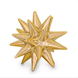 Ouriço Decorativo em Cerâmica Dourado