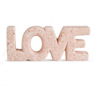 Palavra Love Decorativa de Cerâmica Rosa