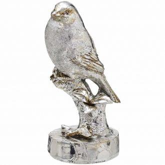 Pássaro Decorativo em Resina Prateado 13cm