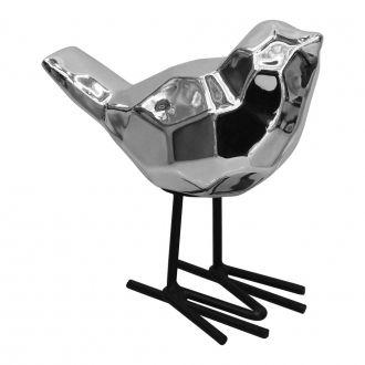 Pássaro Prata em Cerâmica com Pé em Metal