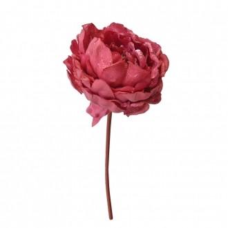 Peônia Artificial Aveludado com Glitter Pink