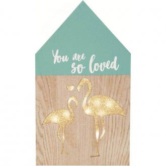 "Placa Decorativa em Madeira com LED ""You Are So Loved"" 30cm"