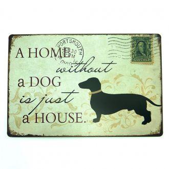 Placa em Metal Decorativa Home And Dog