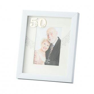 Porta Retrato Branco Bodas de Ouro 10x15cm