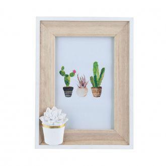 Porta Retrato de Madeira Cactus Flower Branco e Bege