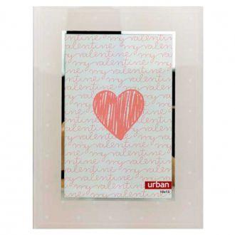 Porta Retrato de Vidro Rosa com Bolinhas Branca 10x15cm
