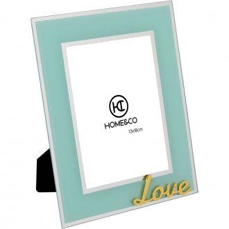 Porta Retrato em Vidro Milos Espelhado Azul Love 13x18cm