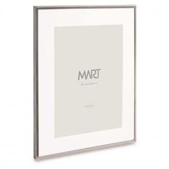 Porta Retrato Prata com Branco em Metal 20x25cm