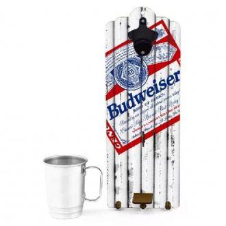 Quadro Abridor de Garrafa com Caneca 400ml - Budweiser