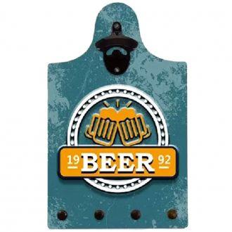 """Quadro Abridor de Garrafa e Porta Chave """"Beer 92"""""""