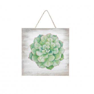 Quadro Decorativo de Madeira Suculenta Verde Elegans String Bege