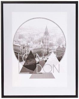 Quadro Decorativo em Canvas London 50x40cm Preto e Branco