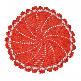 Sousplat Crochê Barroco Vermelho 42cm