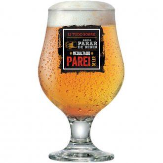 Taça de Cerveja Beer Master Funny de 380ml Li Tudo Sobre Como Parar de Beber