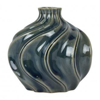 Vaso Bojudo de Cerâmica Ondulado Verde