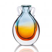 Vaso com Alça de Cristal Murano Aquamarine com Âmbar