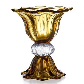 Vaso com Base de Cristal Murano Âmbar 40cm