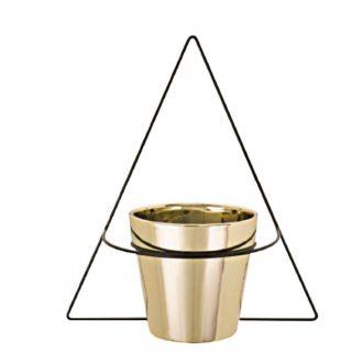 Vaso de Cerâmica Dourado com Suporte de Parede Pequeno