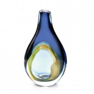 Vaso de Cristal Murano Pétala Azul Oxford 34cm - São Marcos