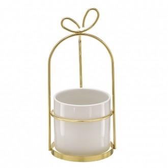 Vaso Decorativo Branco com Suporte Dourado