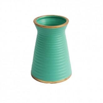 Vaso Decorativo Canelado Turquesa em Cerâmica 15cm