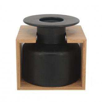 Vaso Decorativo de Cerâmica Preto e Bambu 15cm