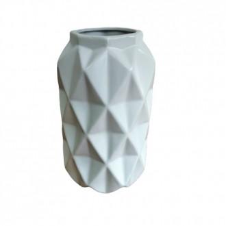 Vaso Decorativo em Cerâmica Geométrico Branco 20cm