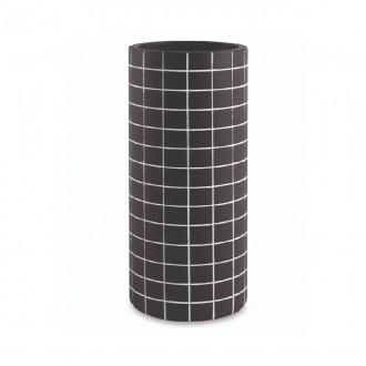 Vaso Decorativo Quadriculado Preto Cimento 23cm