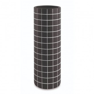 Vaso Decorativo Quadriculado Preto Cimento 28cm