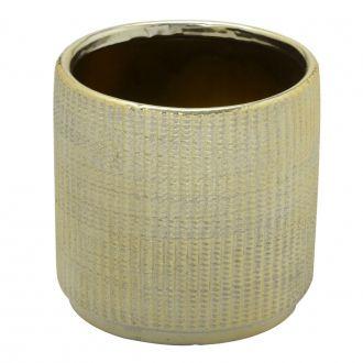 Vaso Decorativo Redondo em Cerâmica Dourado 13x12,5cm