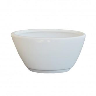 Cachepot Oval em Cerâmica Branco Perola II Clássica