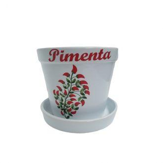 Vaso em Cerâmica com Prato 16cm - Pimenta