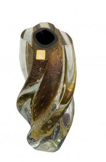 Vaso em Cristal Murano Preto com Pó de Ouro 24K