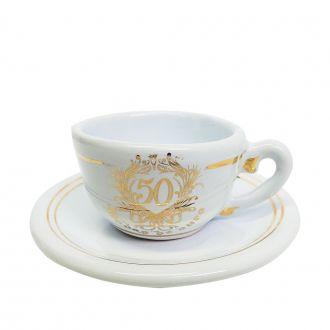 Xícara de Café Avulsa de Cerâmica - Bodas de Ouro