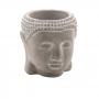 Cachepot Decorativo de Concreto Face Buda Cinza 10,5x8,5x11cm