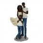 Escultura Família Decorativa Negra em Resina Casal e Menino Grande