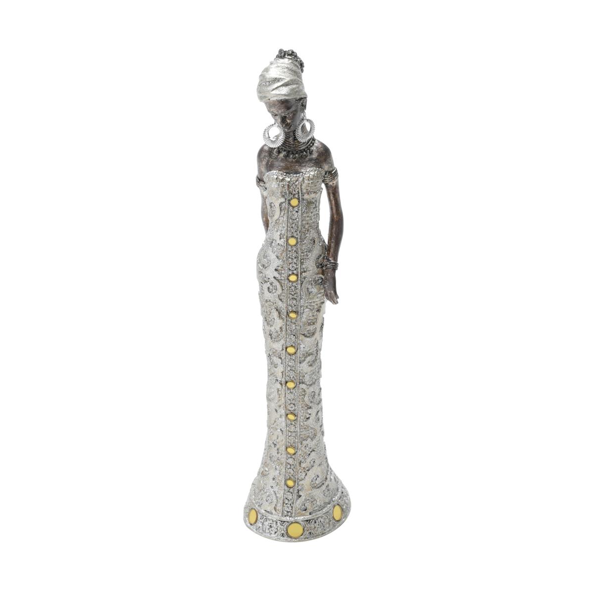 Africana Decorativa de Resina Roupa Dourada 27cm
