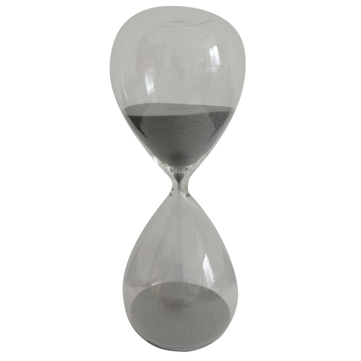 Ampulheta Decorativa de Vidro Clear Glass Prata 10 Minutos